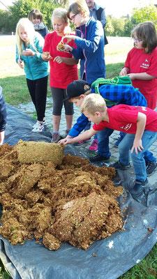 Die Kinder inspizieren den Abfall.