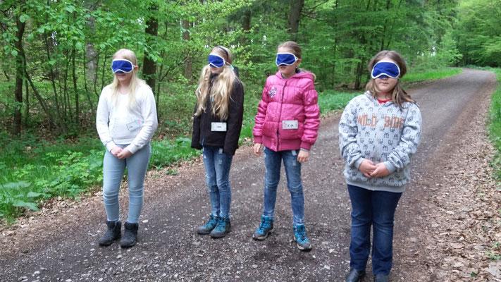 """Die Gruppe mit den Augenbinden sind die """"Vogelweibchen""""."""
