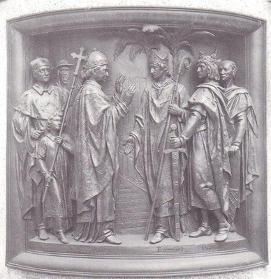 Bernward von Sylvester II. in Rom begrüßt (an seiner Seite Otto III.)