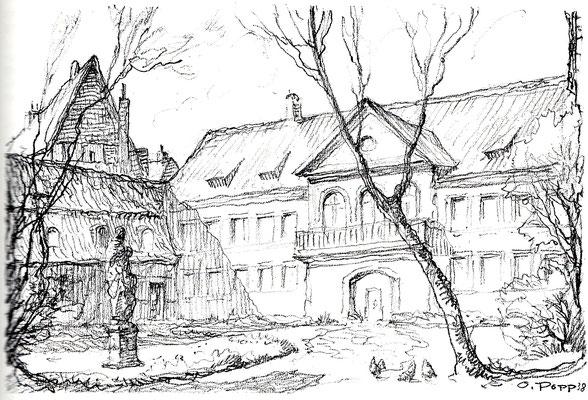 Entwurfskizze: Gartenhof der ehem. Stadtbücherei in der Kreuzstraße (1938)