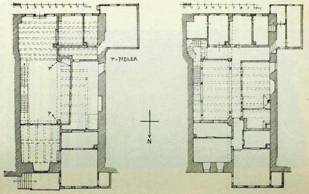 Bild 1: Grundriß des Erdgeschoßes sowie des 1. Geschoß