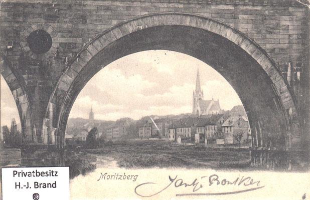 Blick von der 5-Bogen-Brücke auf den Moritzberg