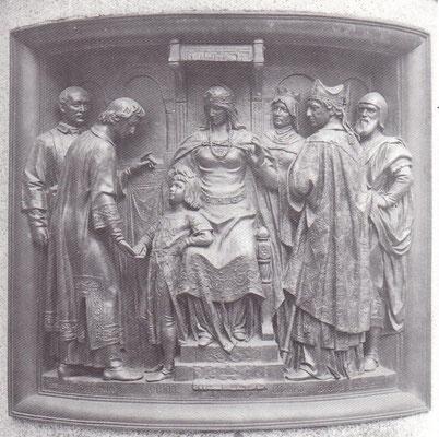 Bernward übernimmt die Erziehung Ottos III. (in der Mitte Theophanu)