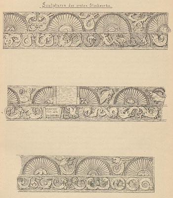 Skulpturen des ersten Stockwerks; Tafel 2 nach Seite 12