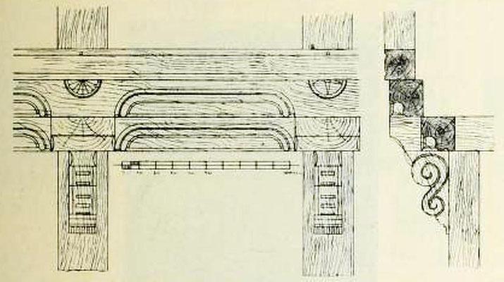 Bild 1: Gebälk im 1. Stock / Schiffskehlen in den Füllbalken