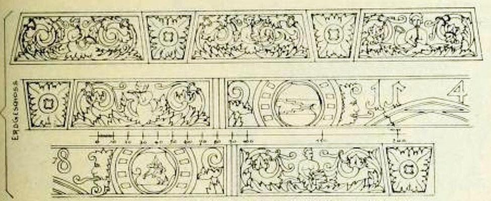 Bild 1: I. OG, geschnitzte Setzschwelle von 1548
