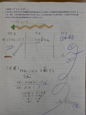 またまた方程式を駆使するお母さん、絶好調!2015.9.2、38作目