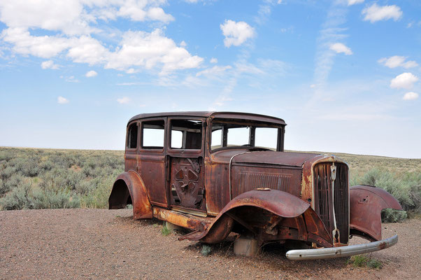 Route 66 dismissed trail inside Petrified Forest National Park & Painted Desert, Arizona