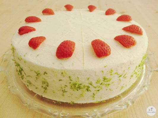 Erdbeer-Limettencreme-Torte