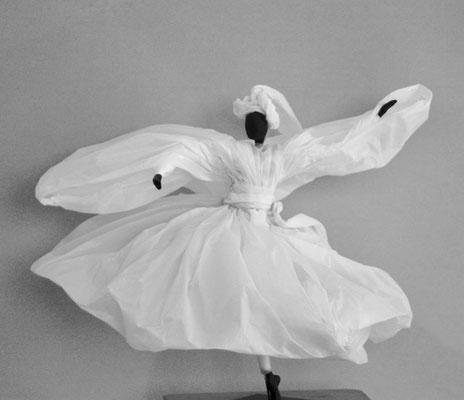 Danse de vie - Papier calque blanc - H 36cm x L 40cm x P 40 cm