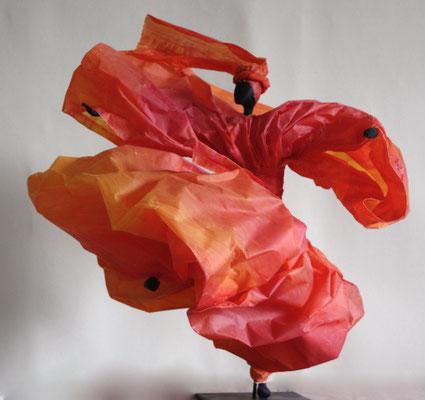 Danse corail - Papier calque coloré  - H 35cm x L 35 cm x P 32cm