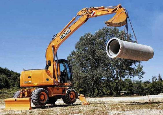 Колесный экскаватор Case WX145 эксплуатационной массой 15,3 т с ковшом емкостью 0,27–0,95 м3