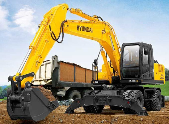 Колесный экскаватор Hyundai R200W-7A эксплуатационной массой 20,5 т с ковшом емкостью 0,8 м3