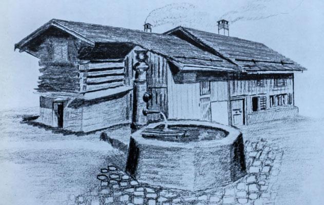 Bleistiftzeichnung von Fridolin Leuzinger, 1922