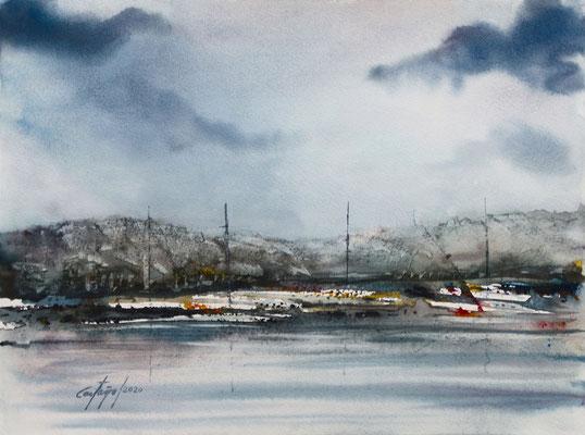 Port de plaisance - William Castano - Aquarelle sur papier - 2020
