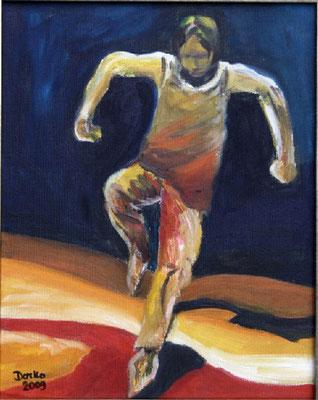 Der Sprung - Bewegungsstudie, 24x30, Leinwand