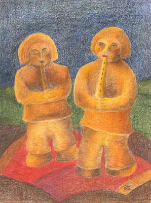 Flötenspieler, Polychromos