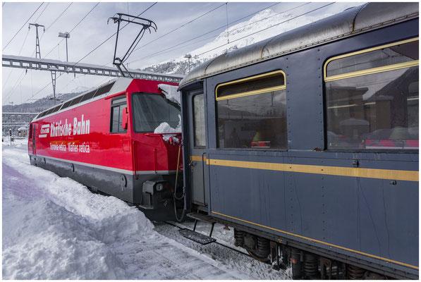 RhB Rhätische Bahn - Bahnhof Samedan - Foto: 02.02.2019