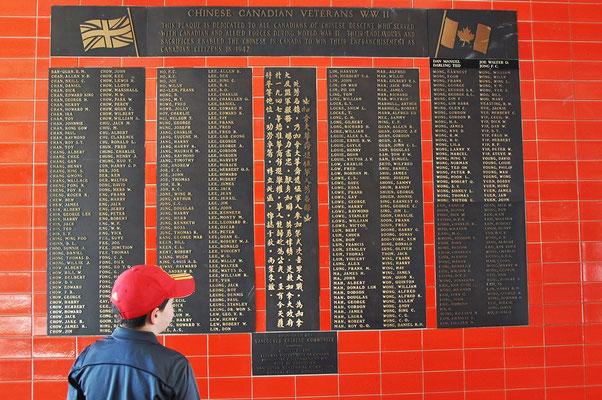 Chinatown, Gedenktafel  für gefallene Chinesen im 2. Weltkrieg
