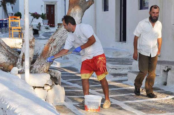 Mykonos, auf den Kykladen wird weiss gestrichen