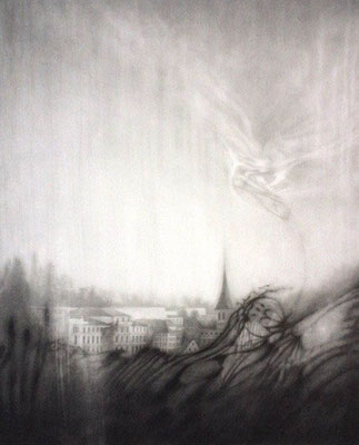 """""""das Gedächtnis der Wasserspiegelung I""""<br>pencil, paper60x50cm"""