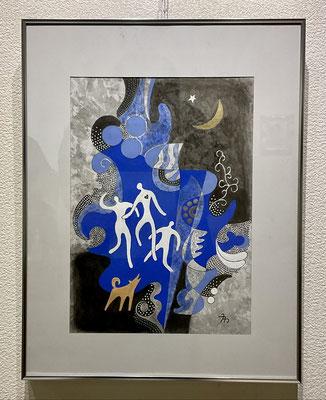 「月に吠える」水彩画