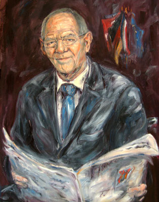 Wolfgang Schäuble . Finance Minister Of Germany . 110 x 80 cm . Oil On Paper