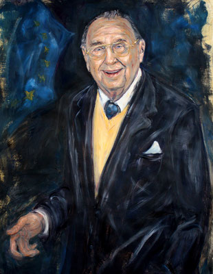 Hans Dietrich Genscher . Former Foreign Minister Of Germany . 120 x 90 cm . Oil On Paper