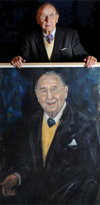 Hans-Dietrch Genscher . Former Foreign Minister . with his Portrait