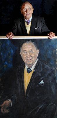 Hans-Dietrch Genscher . Former Foreign Minister . with his Portrait
