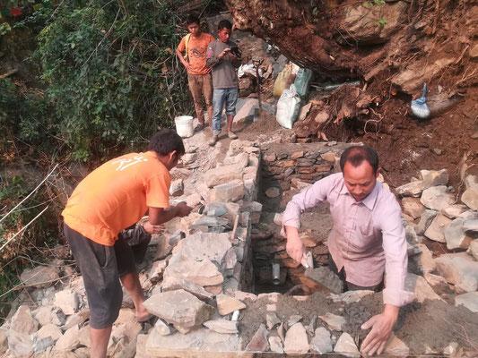 Bau der Auffangbecken