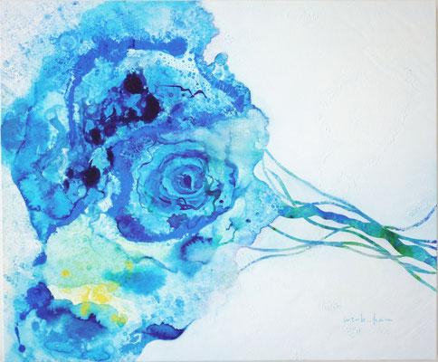 「sea flower」 F8 パネル、水彩紙、油彩、水彩 2014