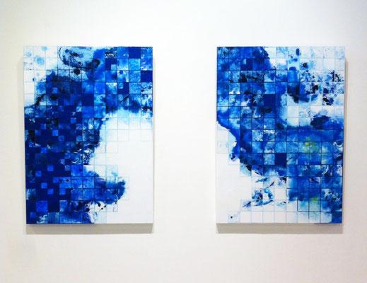 「sea cell」 P30×2p パネル、水彩紙、油彩、水彩 2014
