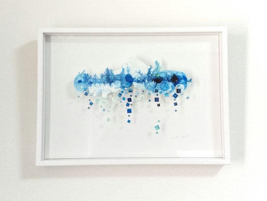 「みずうみ scenery」 油彩、水彩紙、虫ピン 315×440mm 2015