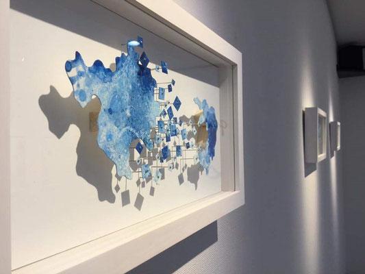 「みずうみ プリトヴィツェ湖」 油彩、水彩紙、虫ピン 205×365×45mm 2015