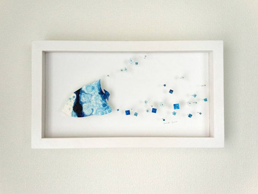 「にちようびのあさのゆめ」 油彩、水彩紙、虫ピン 205×365×45mm 2015