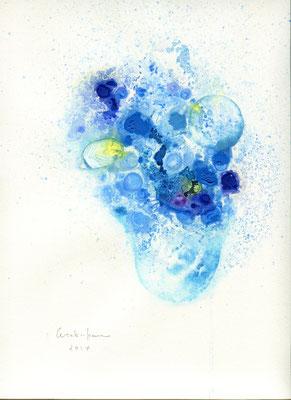 「sea life 3」 水彩紙、油彩、水彩 2014