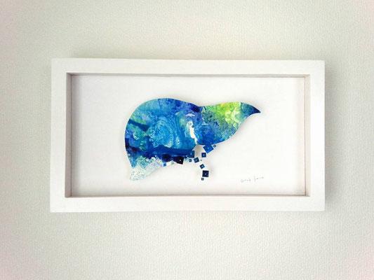 「すみか」 油彩、水彩紙、虫ピン 205×365×45mm 2015