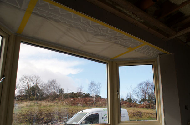 Vapour control membrane for bay window ceilings