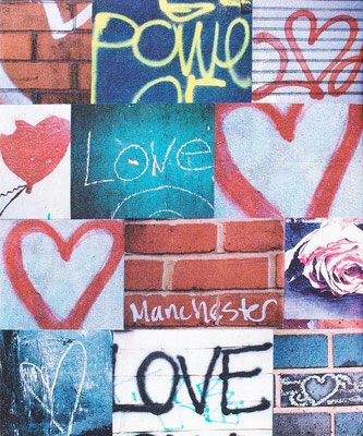 power of love manchester city hearts graffitti street scene photo montage canvas print