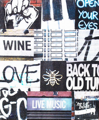manchester city bollard bee black and white photo montage canvas print wine love live music open your eyes