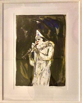 "Bild ""Harlekin mit Flöte""     Litho 1/100     94x74 cm     Kollektion Sonderwunsch     CHF 95.00 (inkl. Rahmen)"