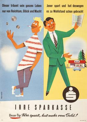 Geldverschwender und Sparer Poster Plakat Heinz Traimer. Repro von 1958.