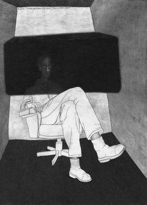 Mann in dunkler Phase. Grafik von Werner Reiterer. (Foto: Werner Reiterer / Krinzinger 2019)