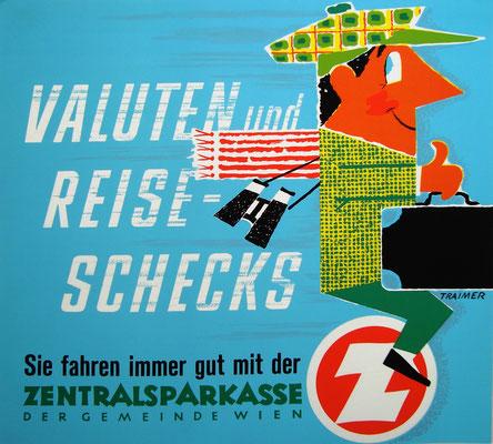 Valuten Devisen Reiseschecks Plakat Poster 1960s