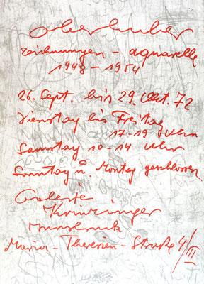 Oswald Oberhuber Plakat Poster Handschrift