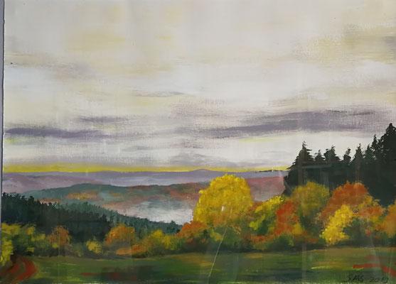 Herbstlandschaft 2019, Acryl auf Papier 48x64, vergeben