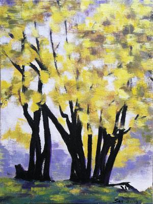 Bäume im Herbst 2019, Acryl auf Papier 40x50, vergeben