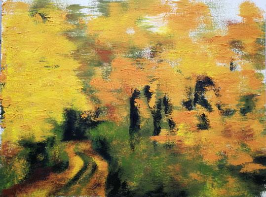 Waldweg im Herbst I 2019, Acryl auf Papier 40x50, vergeben