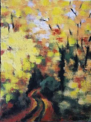 Waldweg im Herbst II 2019, Acryl auf Papier 40x50, 250,-€